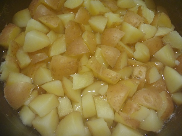 Diced Potatoes After Boiling.