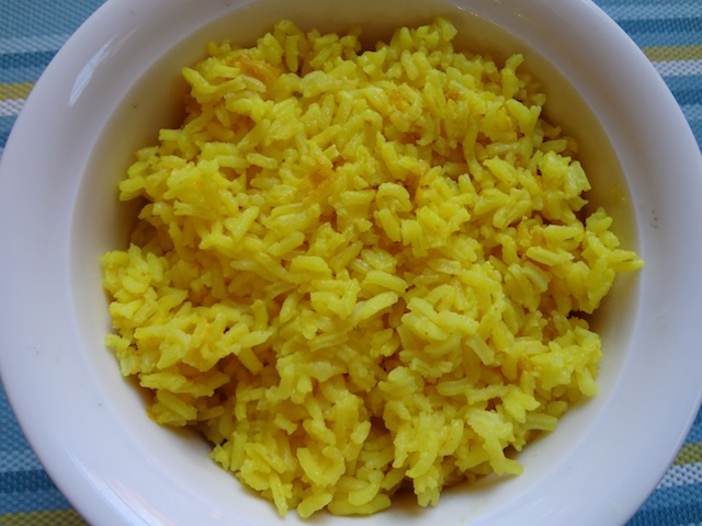 Bowl of Steamed Yellow Rice
