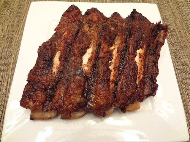 half slab of smoked beef ribs